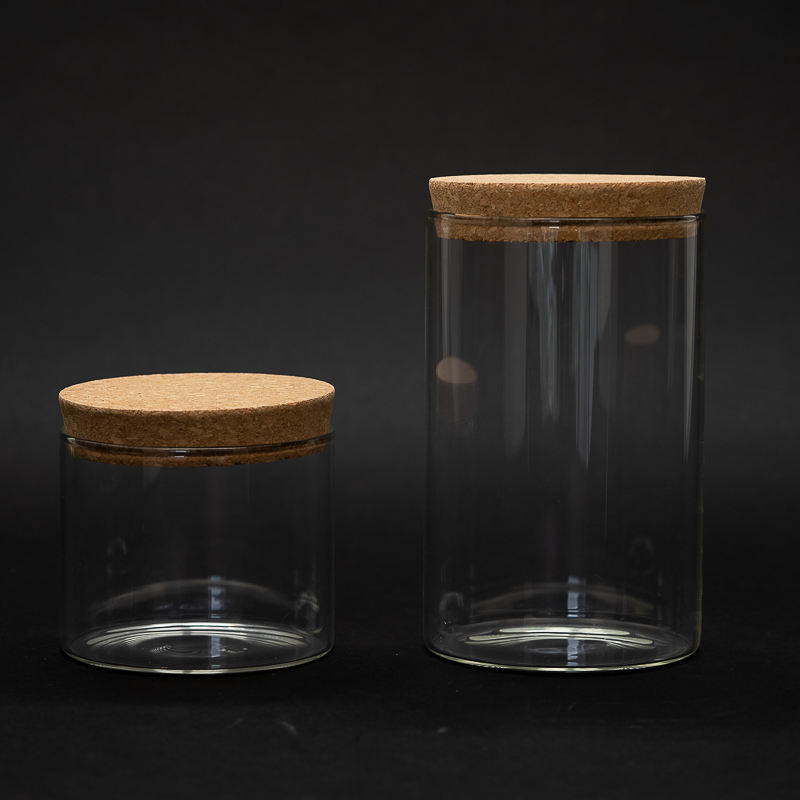 1000ml food packaging containers glass bamboo lid storage jar borosilicate glass jars acacia wood cork lid