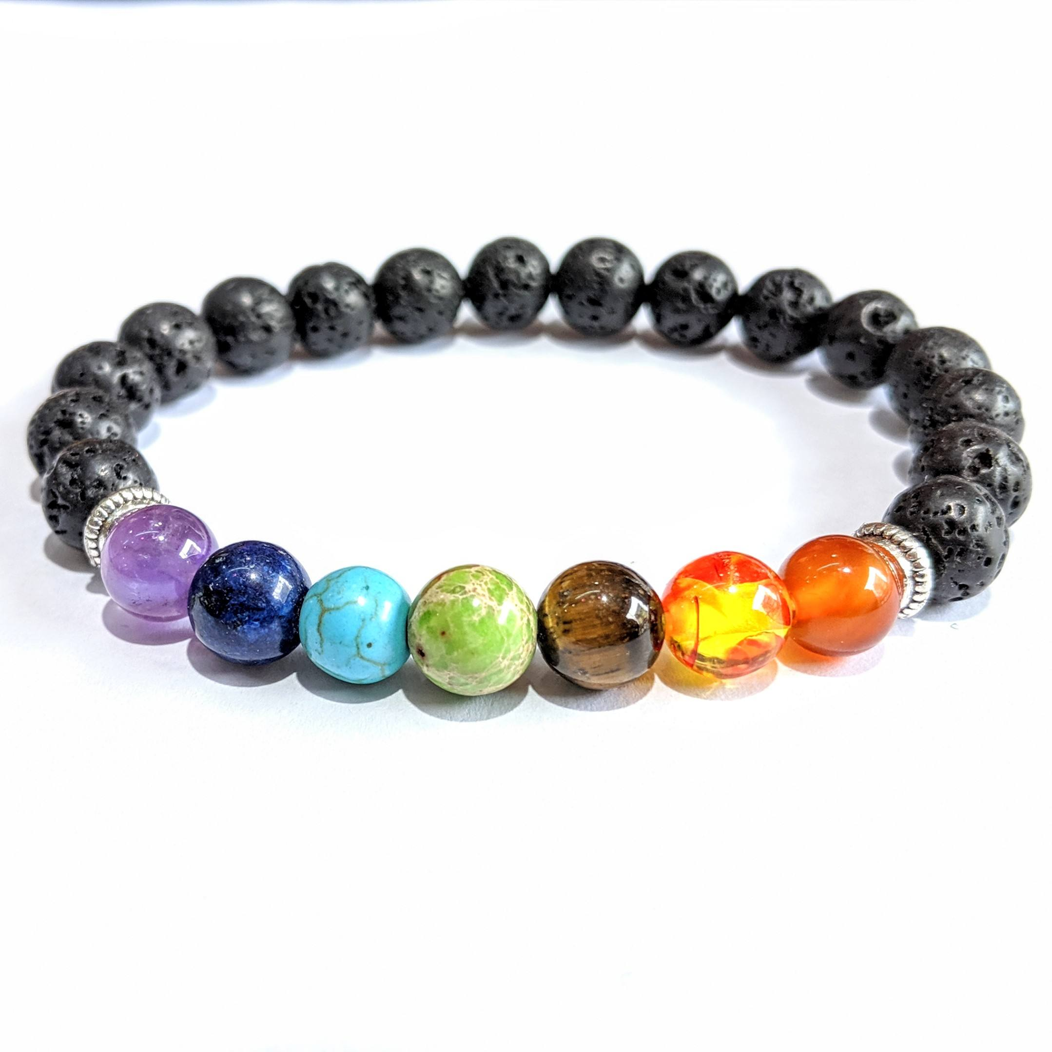 Wholesale Cheap 7 Chakra Bracelet in Bulk Supplier Handmade Elastic Bracelet 8mm Round Chakra Bracelet with Black Lava