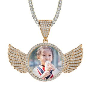 Custom Sublimate Photo Memory Medallions Solid Angel Wings Pendant Necklace Hip Hop Jewelry Cubic Zirconia Chains Wings Necklace