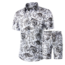 2020 Summer Men's Shirt Shorts Suit Set Short Sleeve Digital Printing 100% Organic Cotton Breathable
