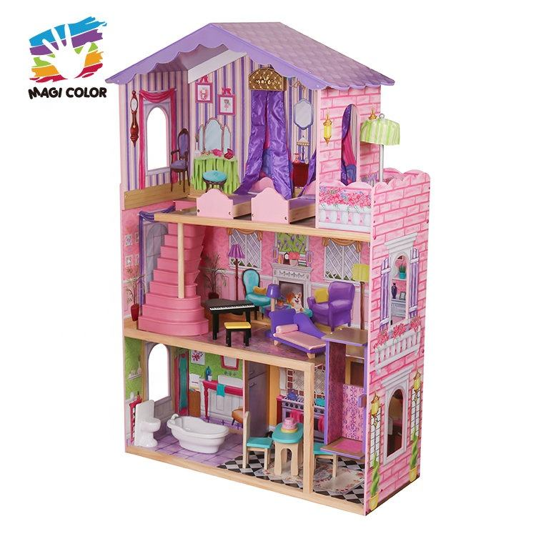 wholesale new style 16 pieces of furniture kids elegant dollhouse suite wooden 18 inch doll house for children W06A232