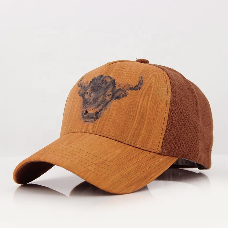 5 panel wood grain vinyl and cotton canvas fabric custom printed logo face cap with selffabric strap and metal buckle adjuster