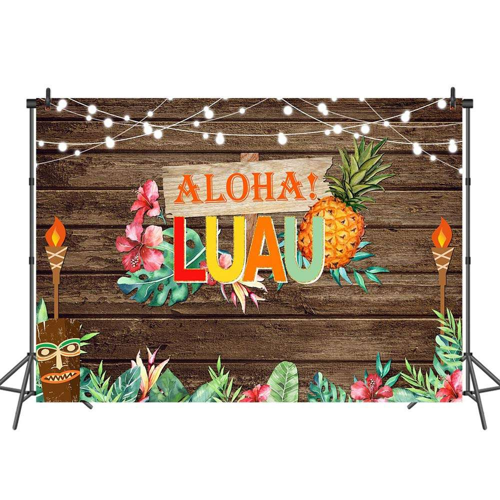 7x5ft Tropische <span class=keywords><strong>Hawaiiaanse</strong></span> Party Achtergrond Aloha Verjaardag Foto Achtergrond Luau Party Hout Fotografie Achtergrond