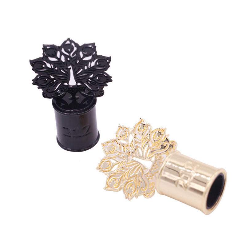 zinc alloy perfume over cap logo sprayer pump cap perfume bottle cap flower