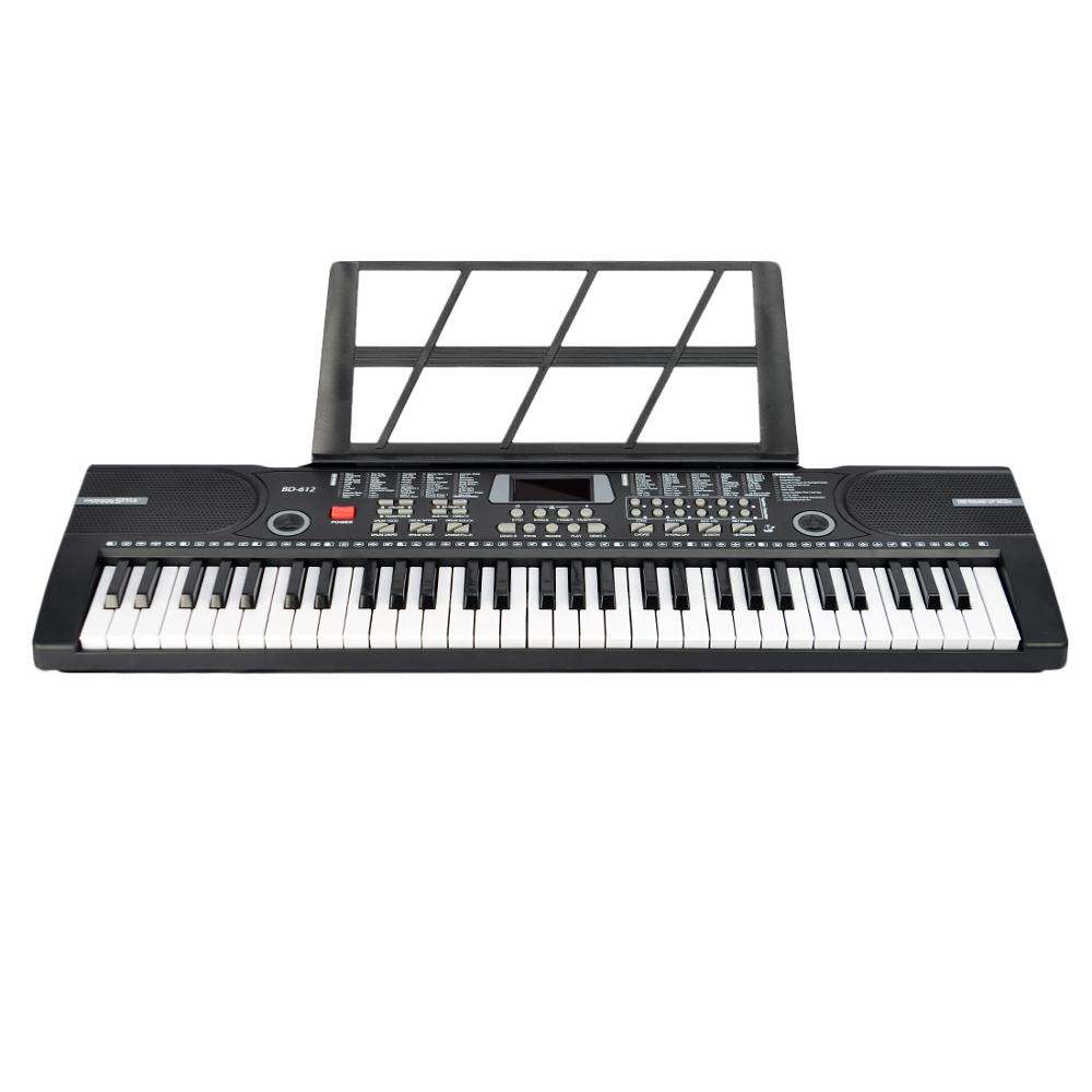 61 Keys Electronic Keyboard Piano with Microphone and Piano Score Stand Musical Toy for Children BD-612 Battery USB Dual-purpose