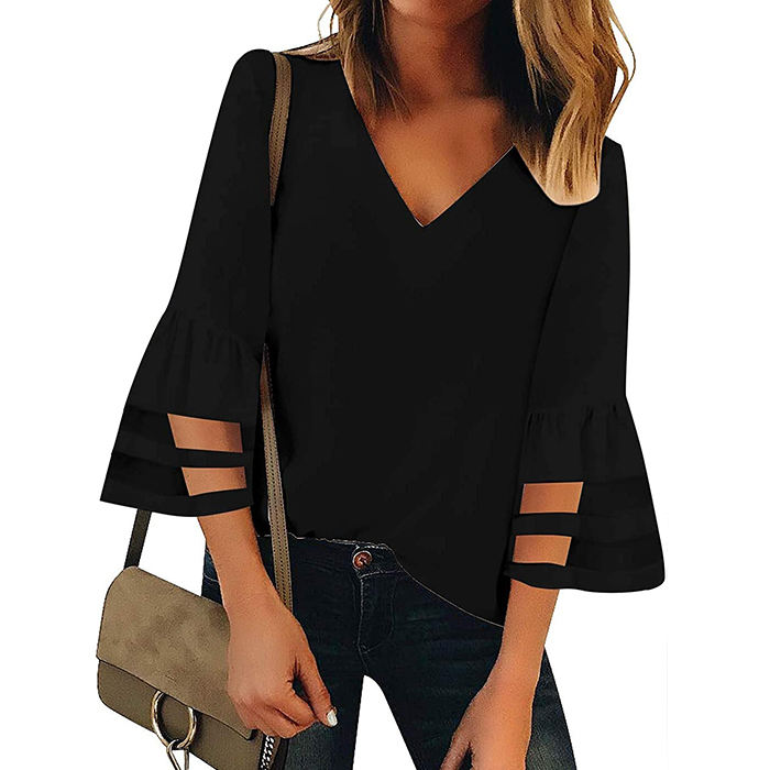 ladies summer blouses tops loose shirt mesh panel 3/4 bell sleeve v neck shirts for women blouses