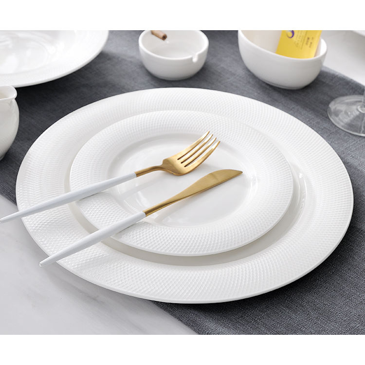 Chinaware New Dishwasher White Net Pattern Dinner Plates Side Plates Set Porcelain Cake Plate