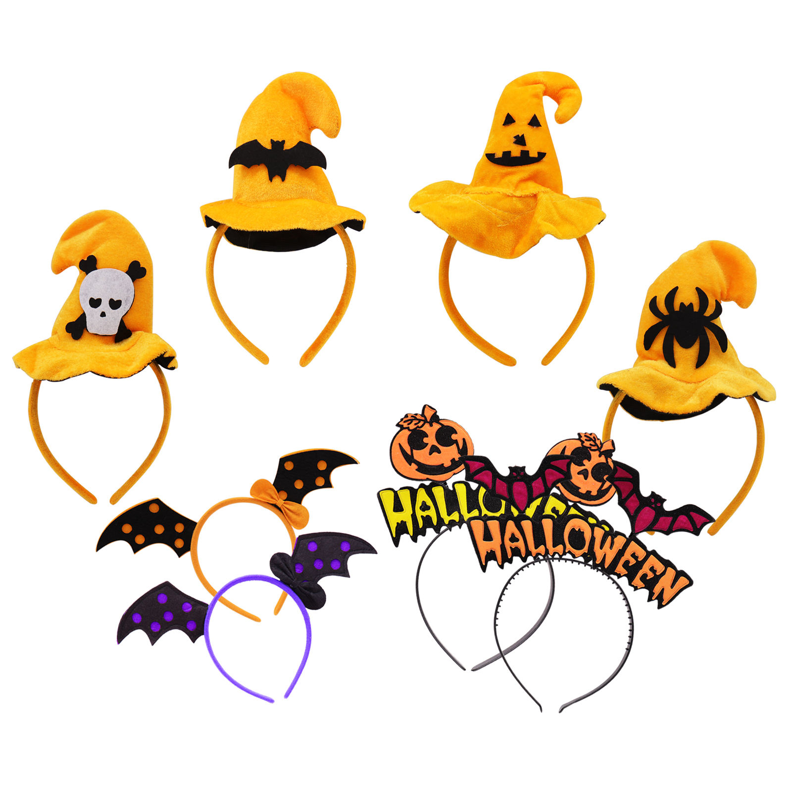 Halloween party decoration children's headdress decoration cute Halloween headband wings pumpkin head dress