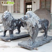Natual stone garden decor black marble lion statues animal sculpture for sale