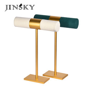 JINSKY metal and microfiber T bar jewelry bangle display stand jewellery bracelet display holder