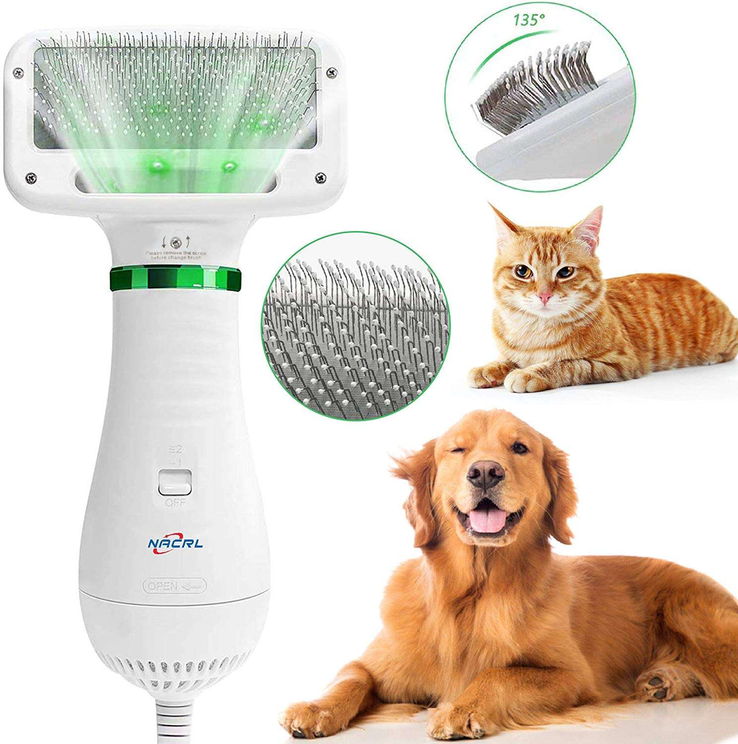Pet Grooming tool 2 in1 dryer brush dog hair comb brush with 2 gear Temperature for Dogs Cats Home Care Dryer brush
