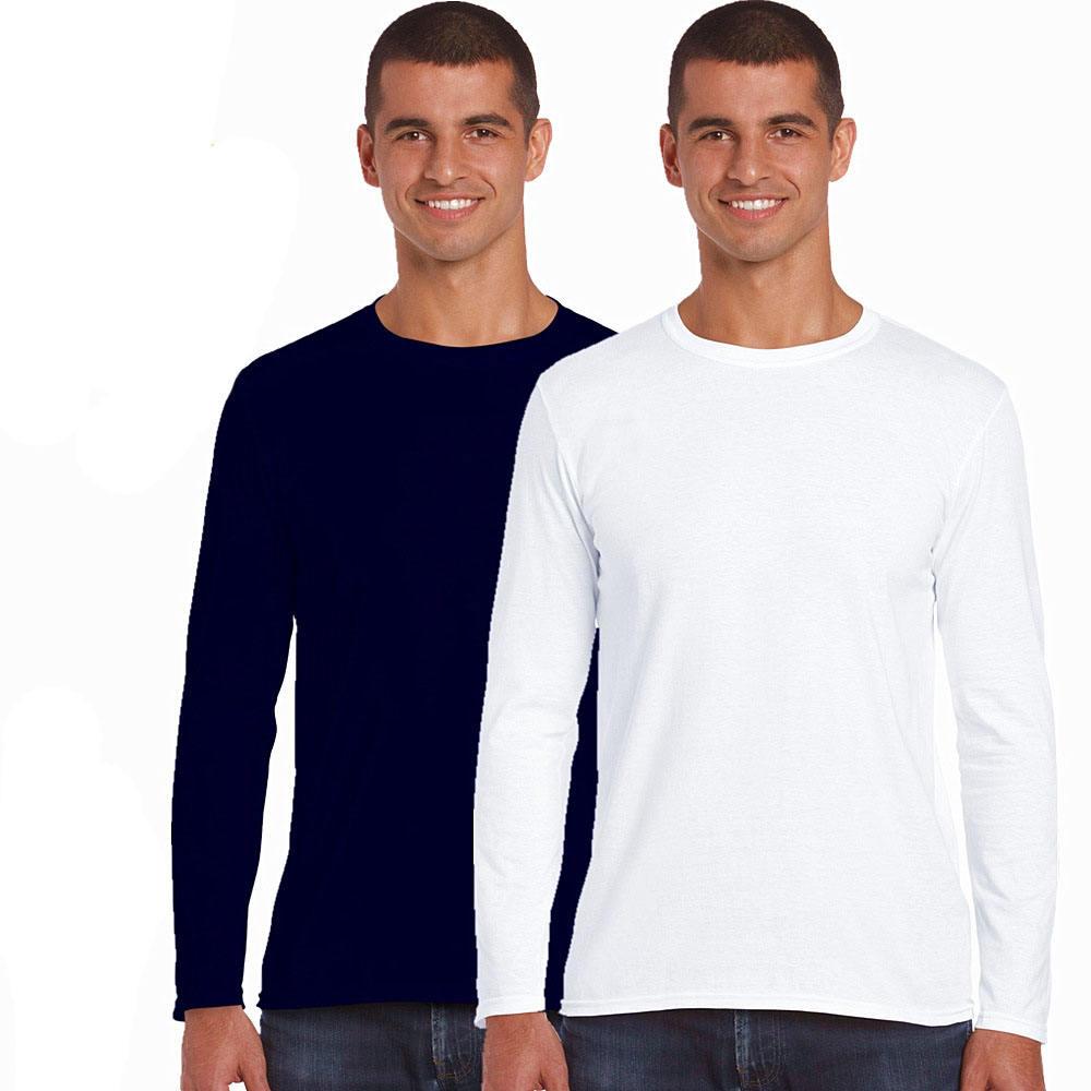 Custom logo printing blank cotton mens plain long sleeve t shirt for men