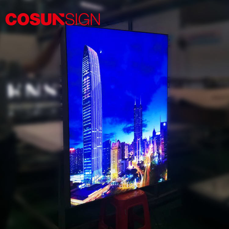 COSUN Led Luminous Outdoor Display Slim Portable Fabric Advertising Light Box Sign