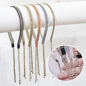 JK Fashion Spring New Headband Hair Accessories Shiny Crystal Long Tassel Earring Headband for Girls