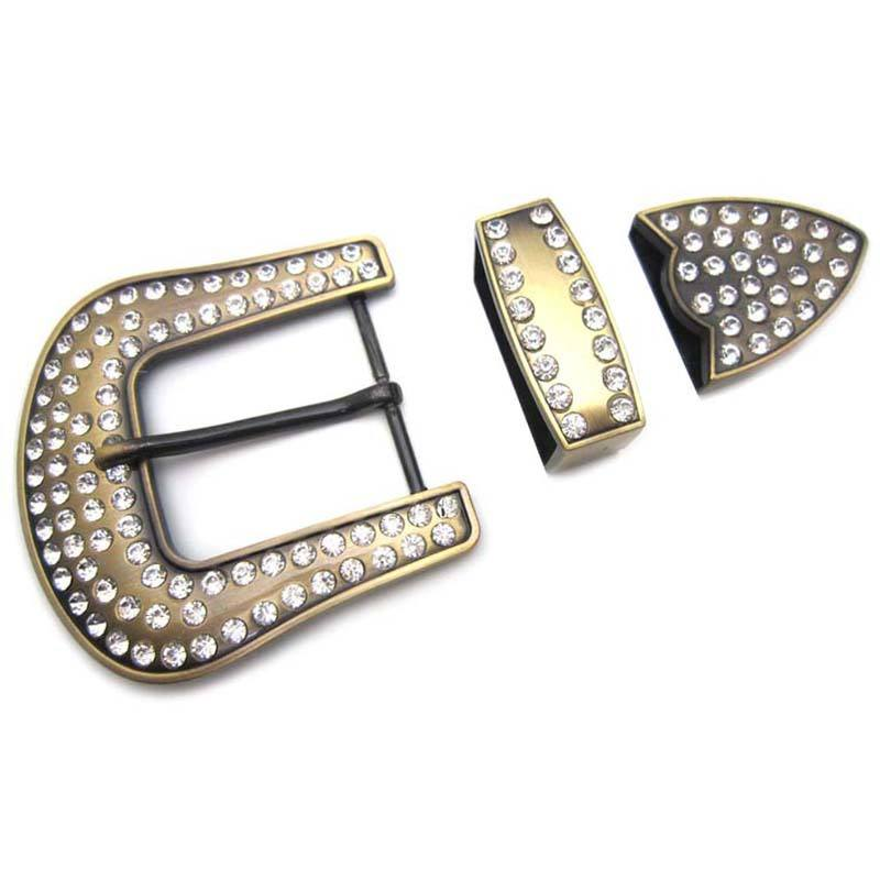 40mm 4.0cm inner size western style crystals rhinestones pin buckle 3 pieces pin buckle set