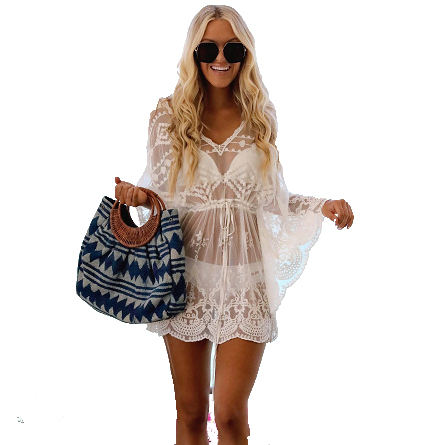 Newest Beach Cover up Kaftan beach wear Cover Ups Crochet V Collar Hollowed-out Long Sleeve white Cover up Tunics