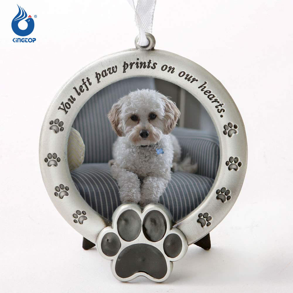 Pet Souvenir Paw Photo Frame Ornament,Metal Christmas Tree Pet Dog Ornament with Photo Frame