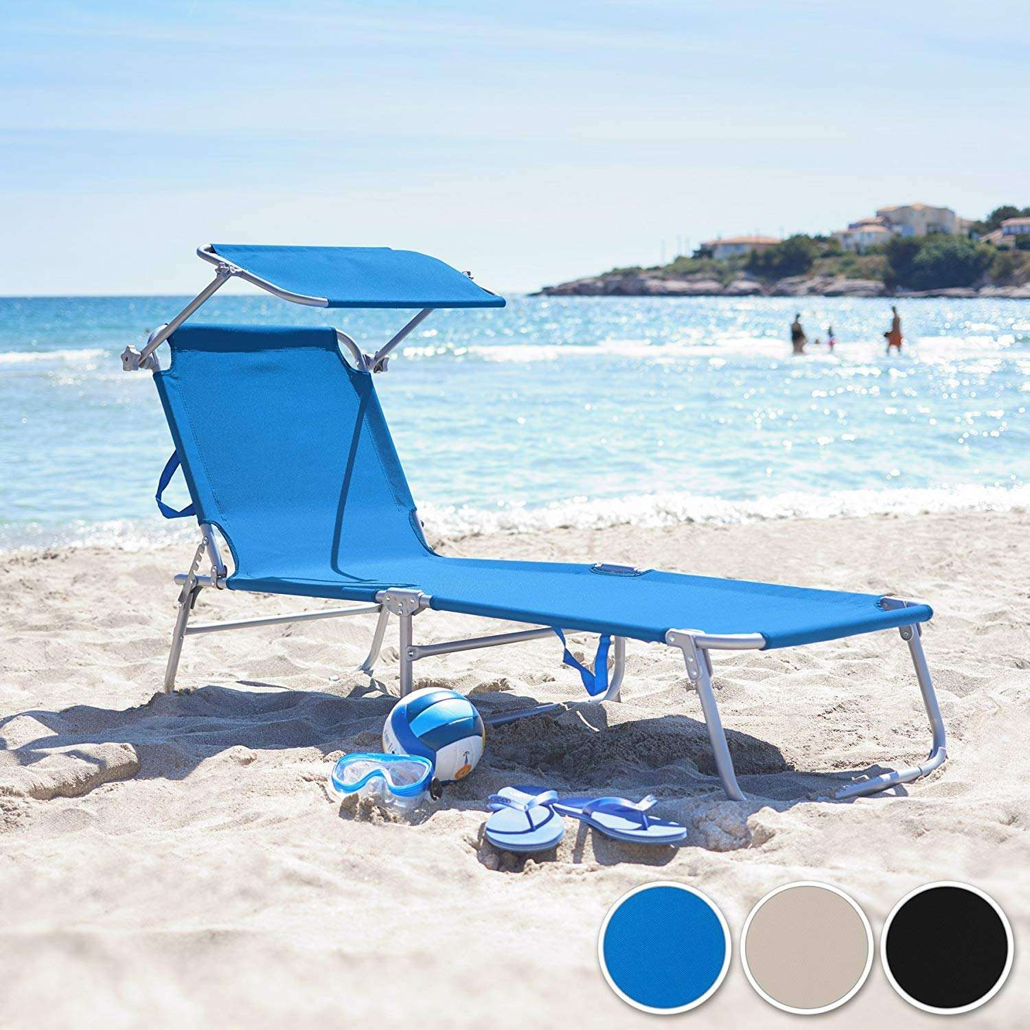 Outdoor Patio portable folding bed with shade beach sun chaise lounger foldable aluminium sleeping bed