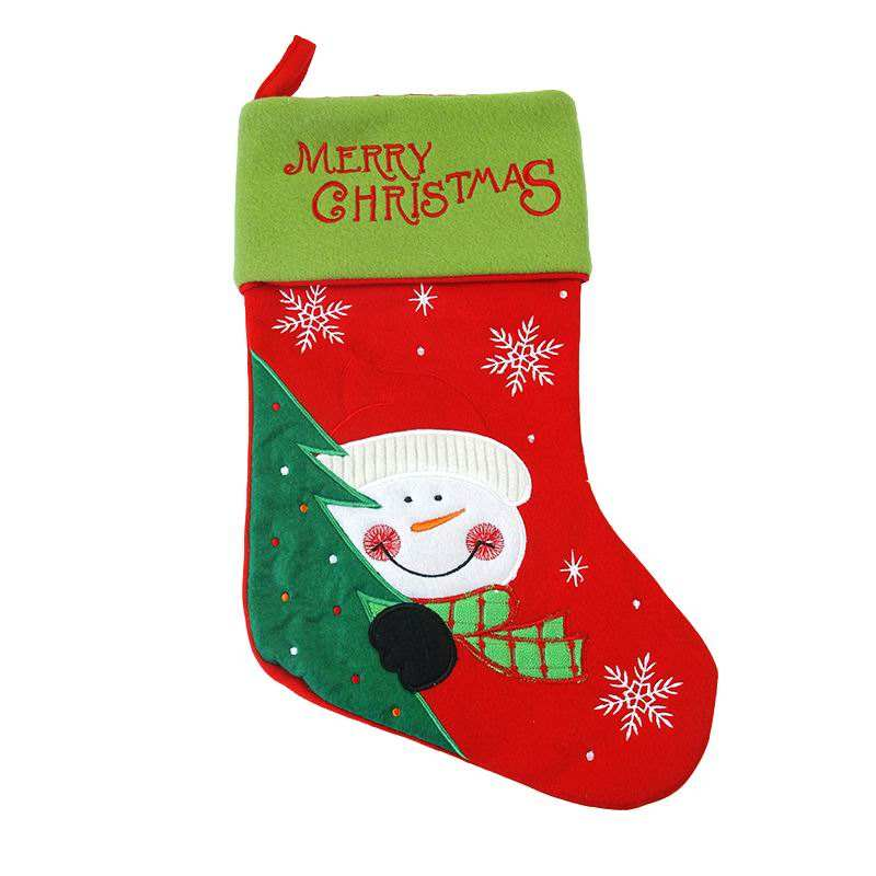 High quality cheap price christmas decoration red and green snowman pattern christmas stocking socks custom