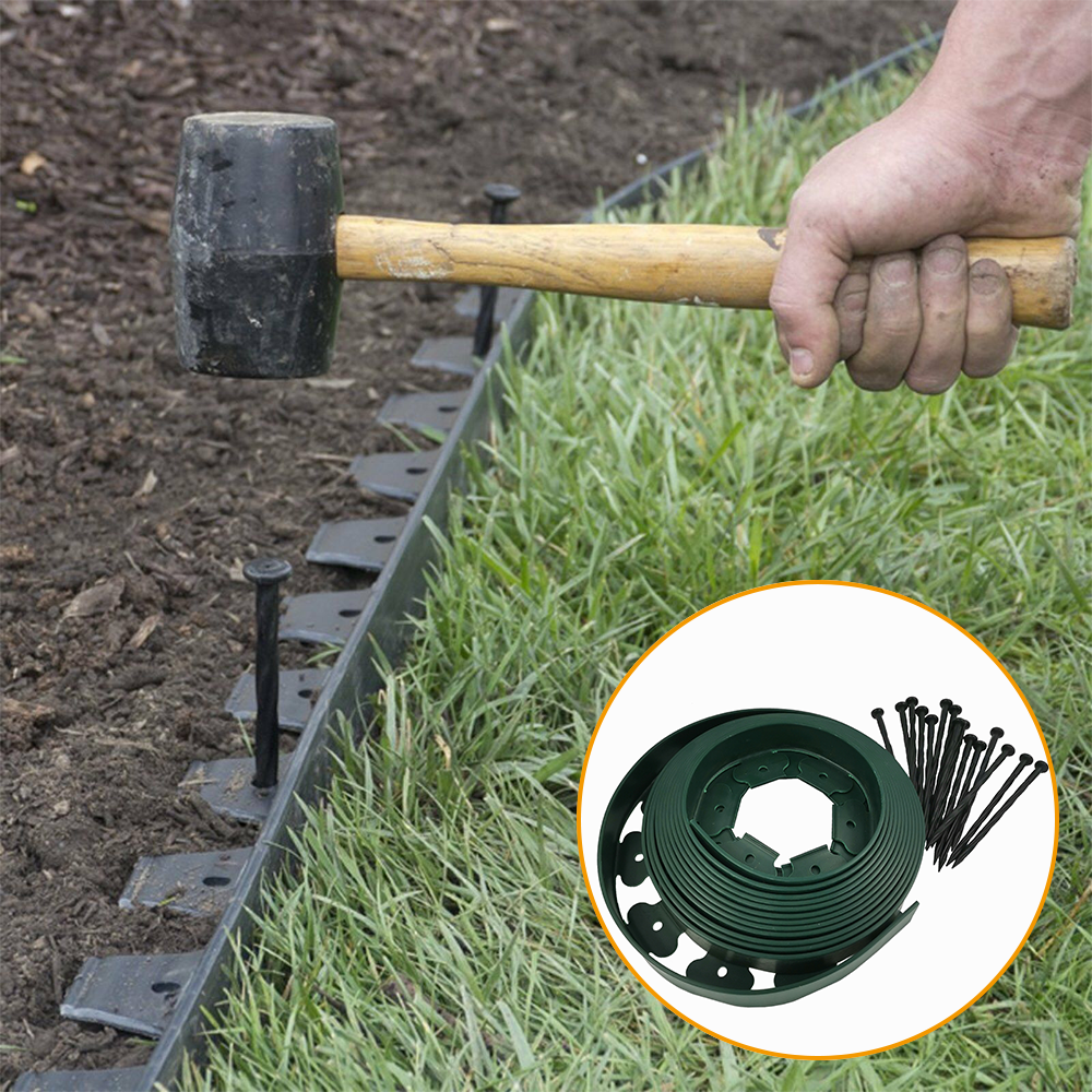 garden lawn landscape edging no dig lawn plastic border edge with fixing nail
