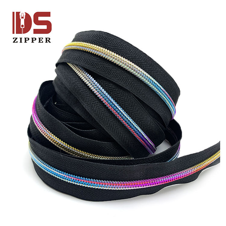 Factory Wholesale rainbow thread unique hot sale colorful nylon zipper 36 inches for toys