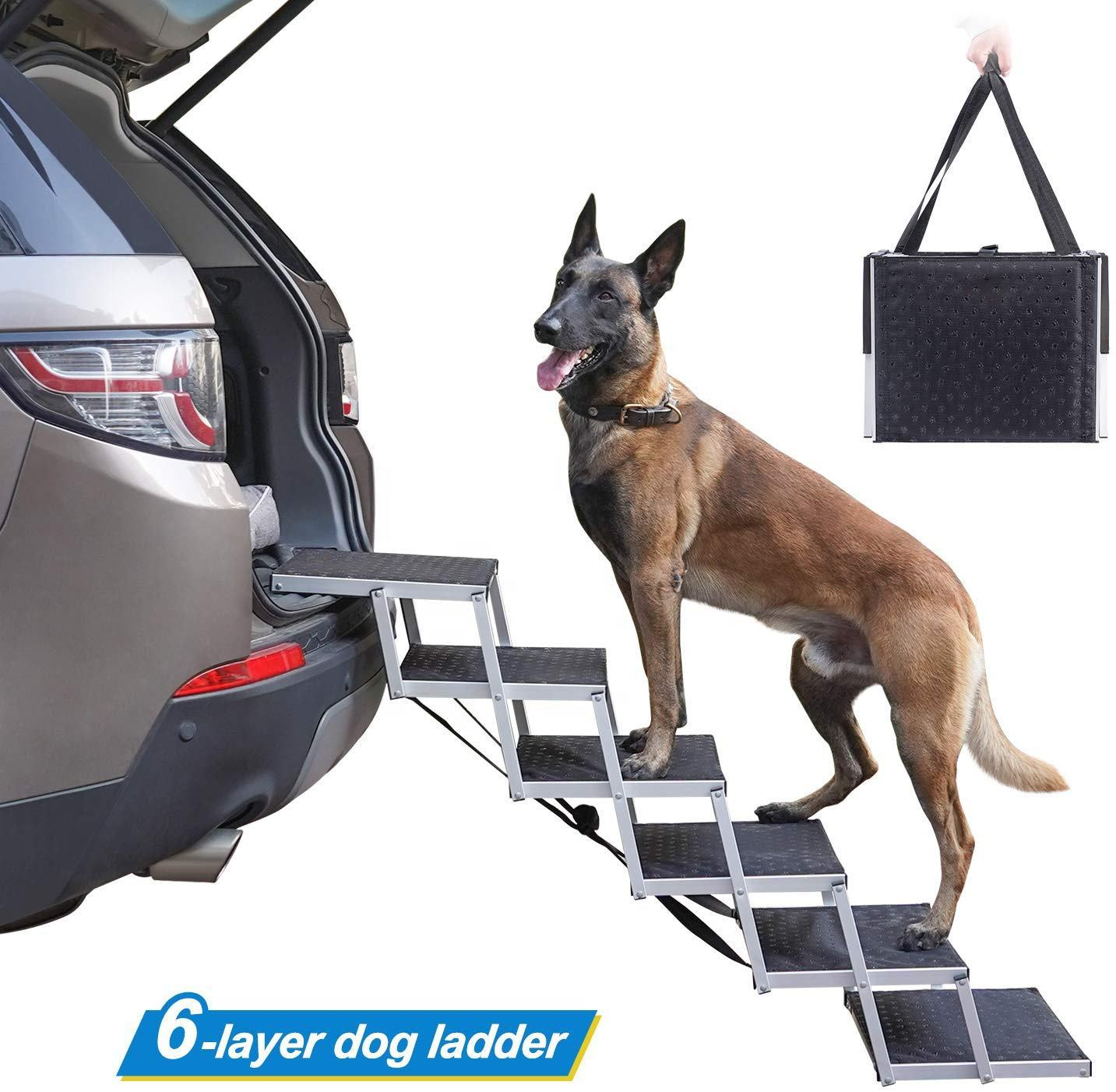 Folding portable aluminum dog stairs dog steps folding pet dog ramp for suv car pet loader