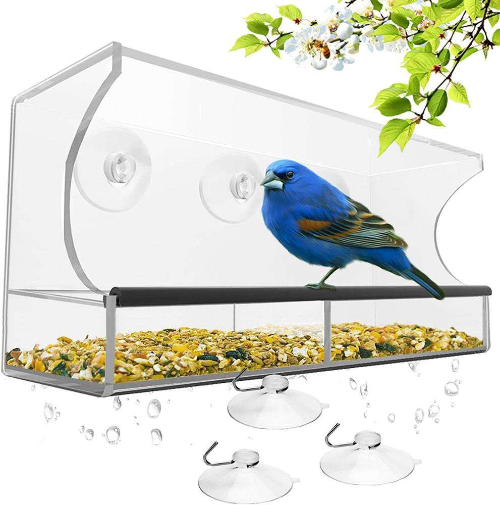 Hanging Window Pet Cage Clear Acrylic Wild Bird Feeder With 4 Super Strong Suction Cups