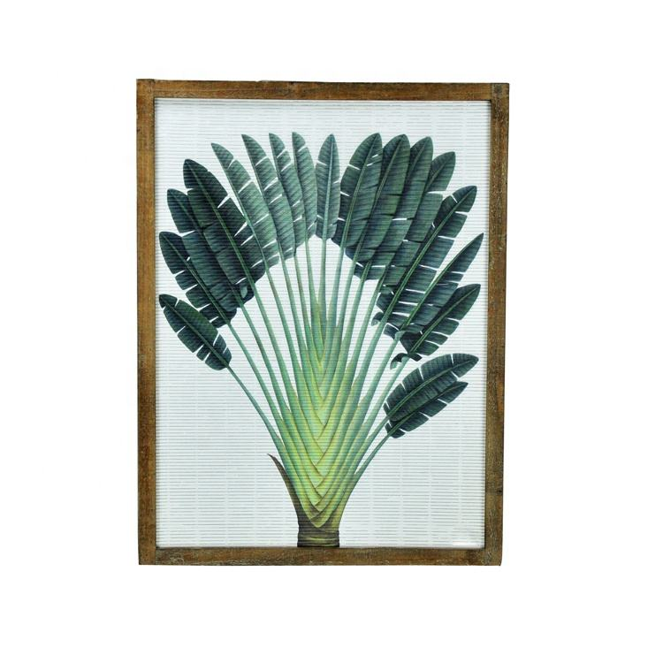 IVY New Design Modern Tropical Plant Painting Bamboo Wood Framed Hanging Art wall Decor