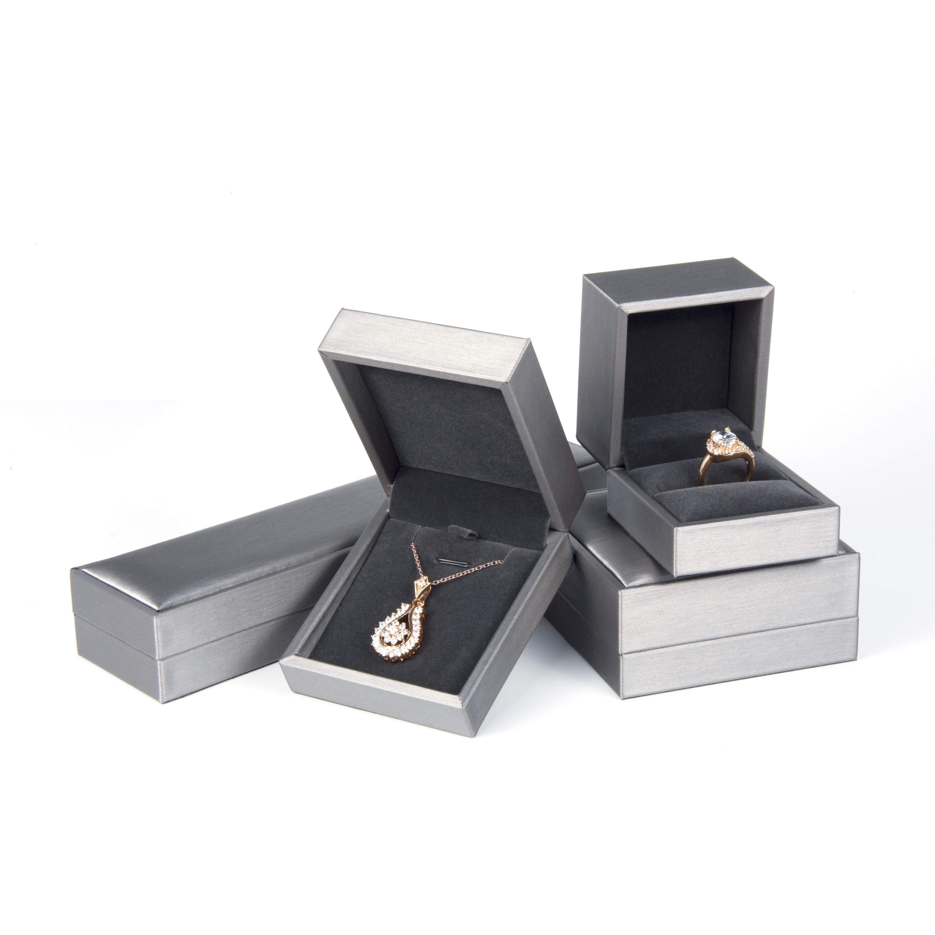 Stock 200pcs PU Leather Box Jewelry Leatherette Bracelet Ring Necklace Display Packaging Box