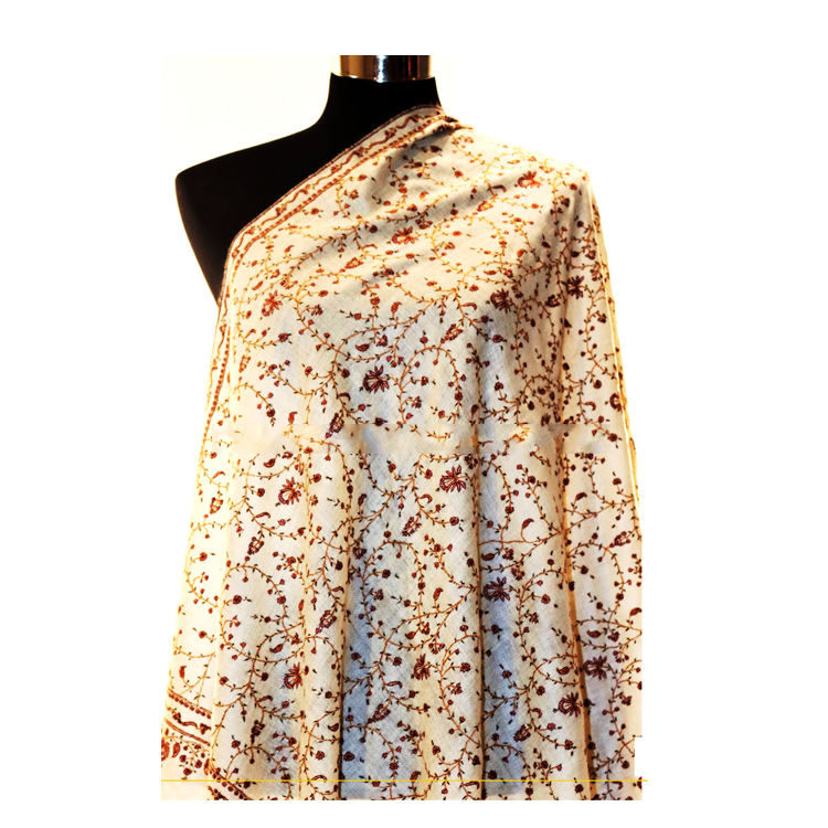 Exclusive Embroidered National Style Thickened Wool Double-faced Shawl Warm Cashmere Scarf