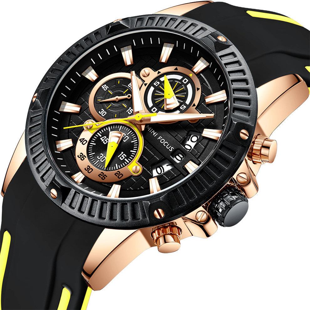 MINI FOCUS 0244 Fashion Luxury Brand Watch Men Waterproof Military Sport Man Clock Wristwatch Quartz Silicone Strap