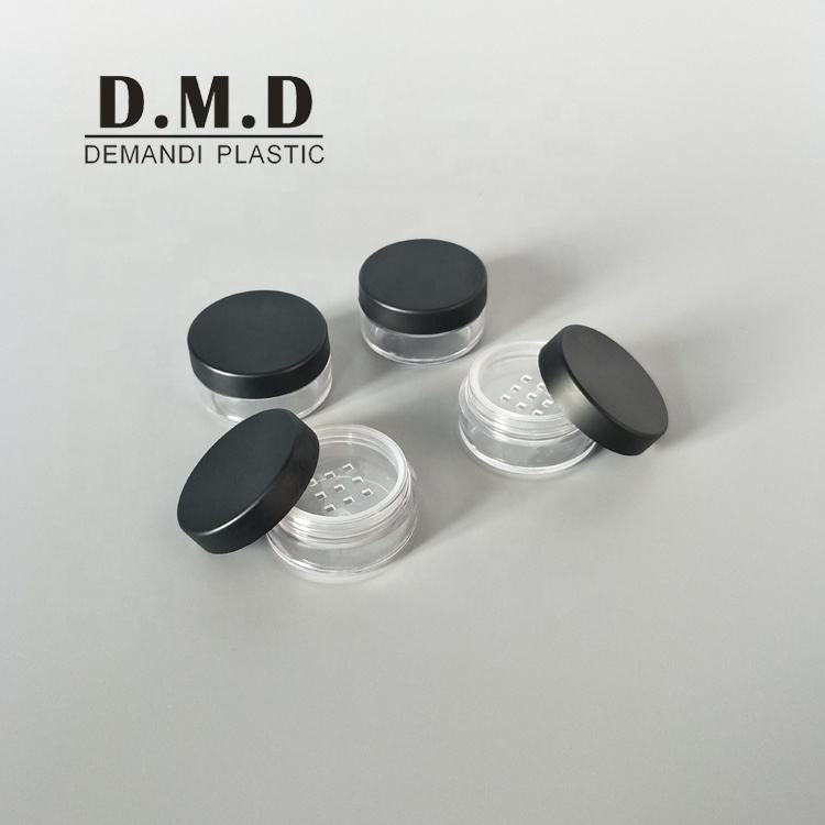 3 grams 3 ml 5grams 10g 5ml 10ml 10 grams cosmetic matted black powder sifter jar with lid