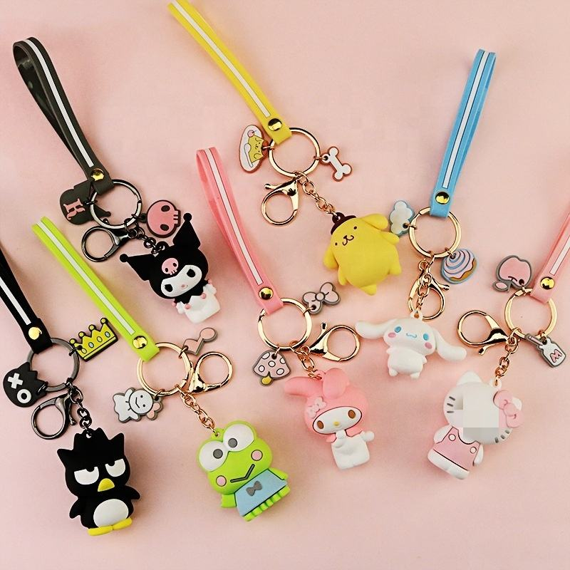 Creative Souvenir Gift 3D Cartoon Style Silicone Keychain With Keyring