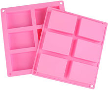 Amazon Hot Sale Silicone 6 Cavity Rectangle DIY Soap Cake Molds,TOYS0167