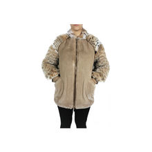 Bomber palomino color winter mink fur jacket  with bobcat sleeves