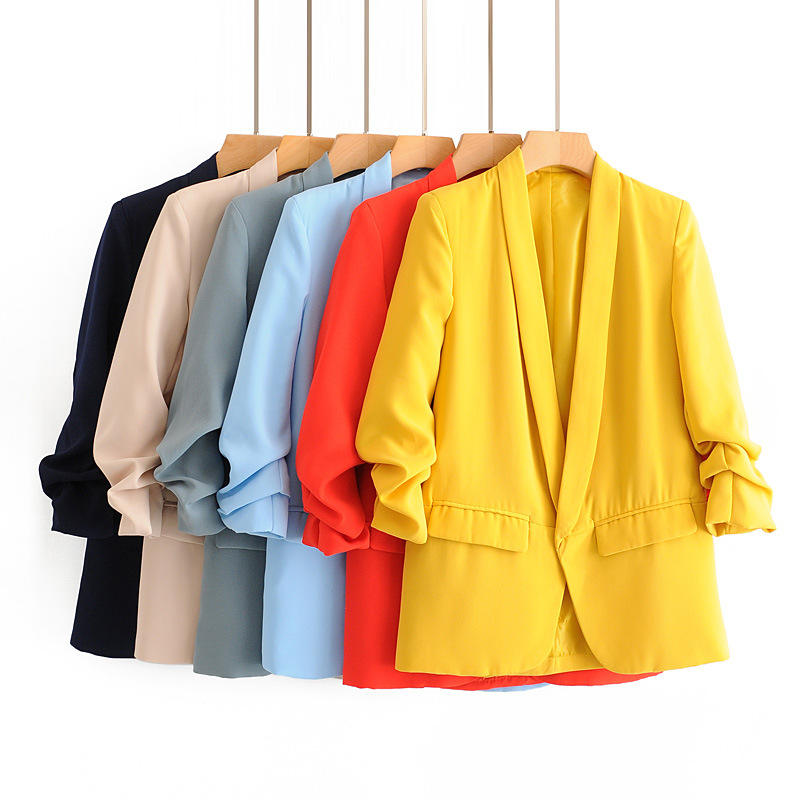 New European And American Women's Spring Fashion Solid Colors Versatile Cuff Pleated Casual Seven Minutes Sleeve jacket blazers