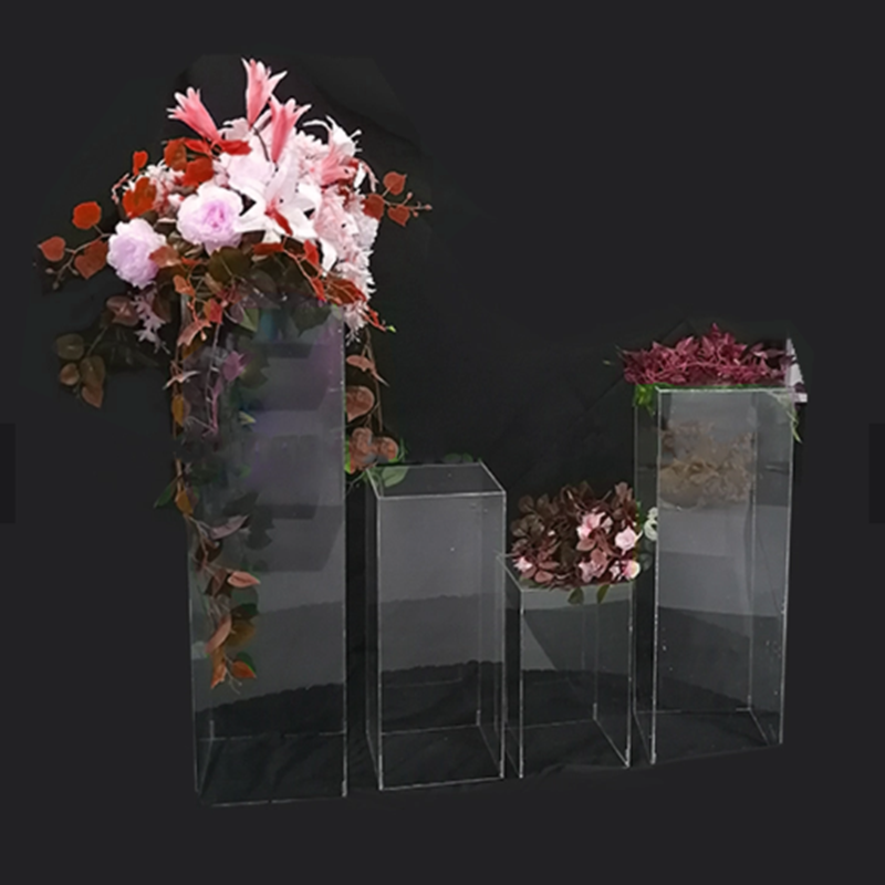 Manufactorer Direct Transparent Plinth Acrylic Pedestal Wedding Decorative Square Columns