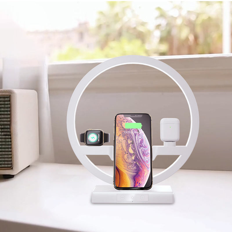 New 3 in 1 charging dock for iPhone station desk lamp wireless charger for Apple watch charging stand for AirPods