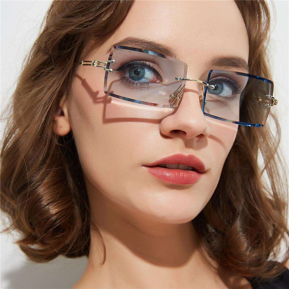 OA31274 Weekly Deals Cool Fashion Square Rimless Glasses Sunglasses