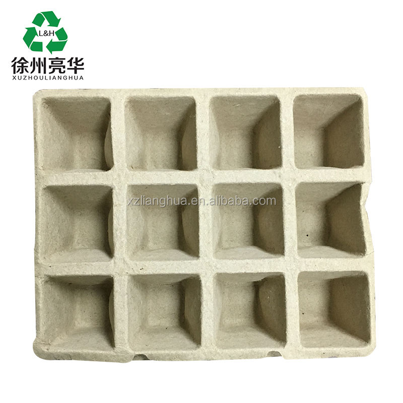 Wholesale 12 Grid Square Disposable Biodegradable Propagation Pulp Paper Seed Tray