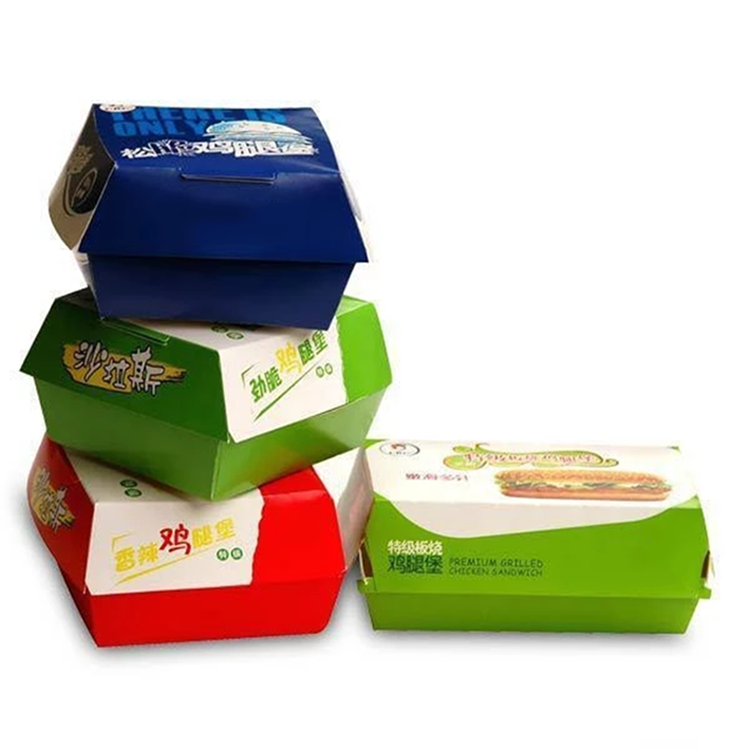 Printing Customized Recyclable material Disposable Paper Fast Food Packaging Burger Cardboard Box