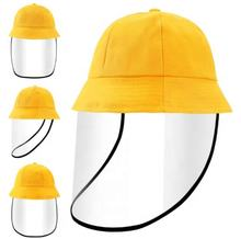 Kids Children Student Cotton Bucket Hat with Splashing Resistant  Optically Clear TPU Face Shield Cover