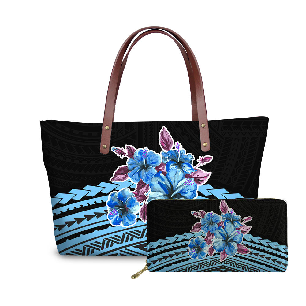 Blue And Black Tribal Design Printed Women Shoulder Handbags And Purses Set Blue Flowers Floral Soft Tote Large Bags For Ladies