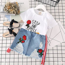 2019 rose flower denim skirt 3yr baby 7 years old girls children's summer set african clothes for kids