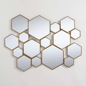 SWT de Metal de latón hexagonal Panel de espejo de pared decorativo espejo