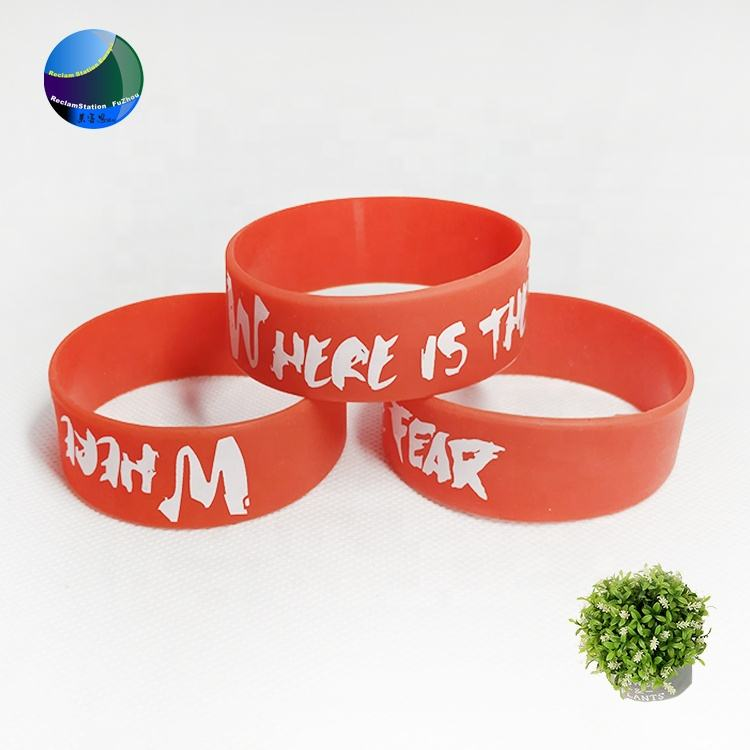 Factory custom 1inch wide red negative printing white logo basketball sport debossed silicone wristband for adult