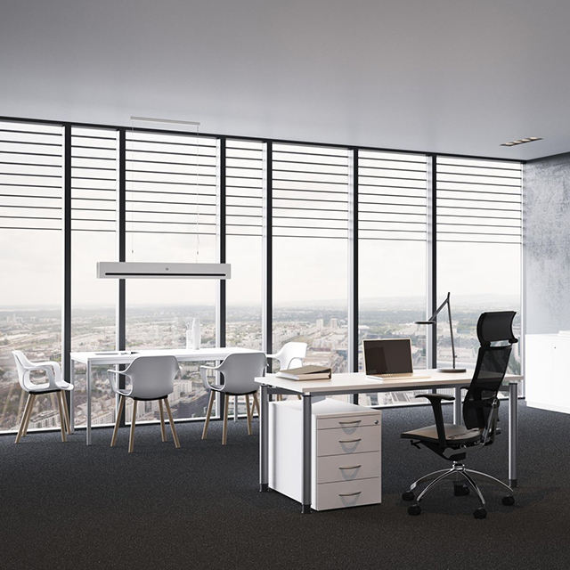Factory Price Modular office dividing wall Soundproof glass partition with blinds