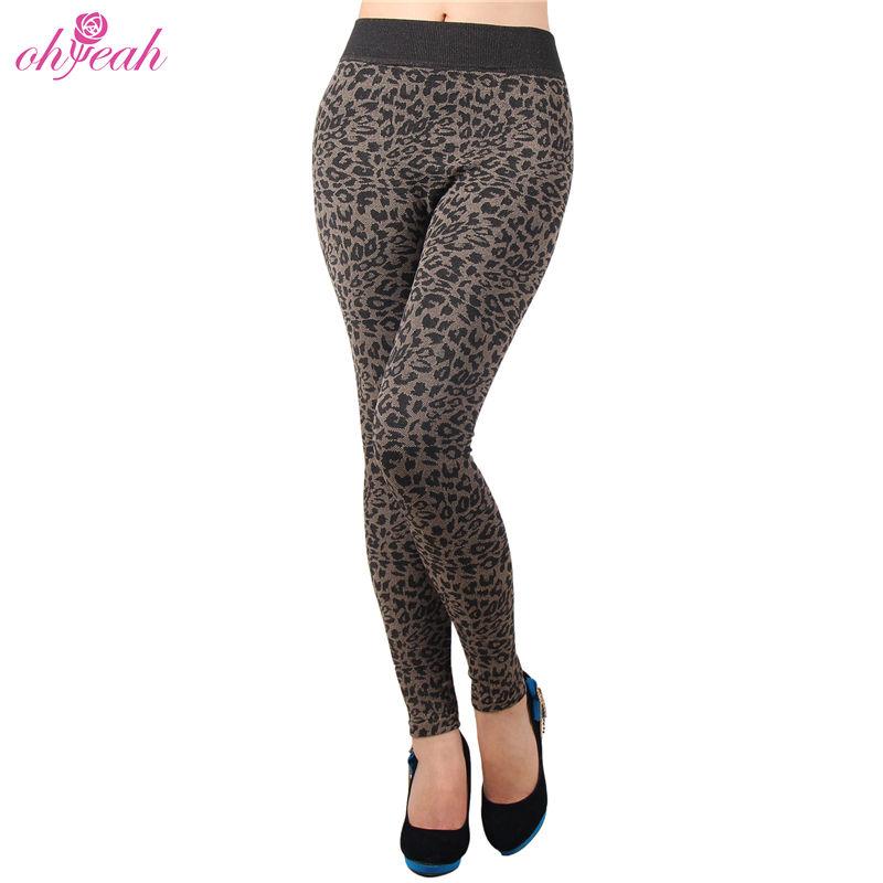 Leopard print in stock winter thick warm leggins for women