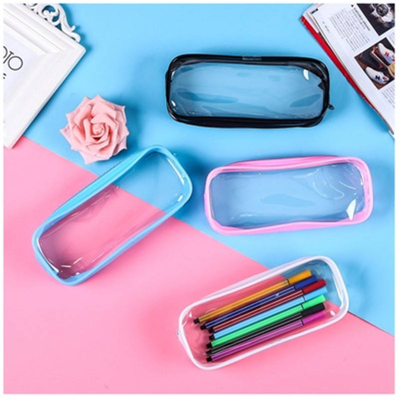 PVC Pencil Bag Zipper Pouch School Students Clear Transparent Waterproof Plastic PVC Storage Box Pen Case Mini