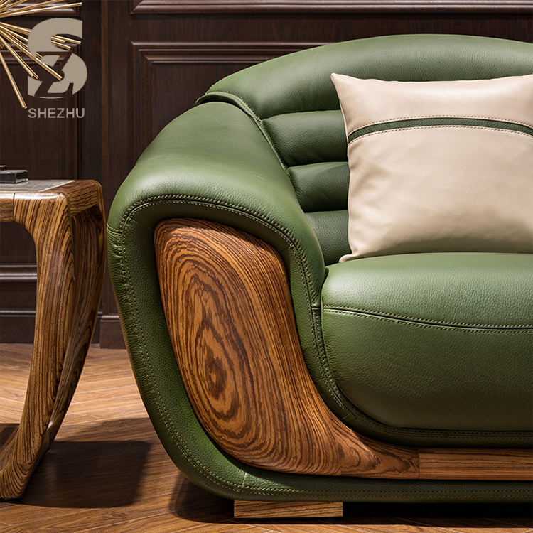 Wood [ Leather Sofa Green ] Living Room Wooden Sofas Solid Zebra Wood Frame Design Pure Leather Sofa Wholesale Living Room Luxury Sofa Green Genuine Leather Sofa Set